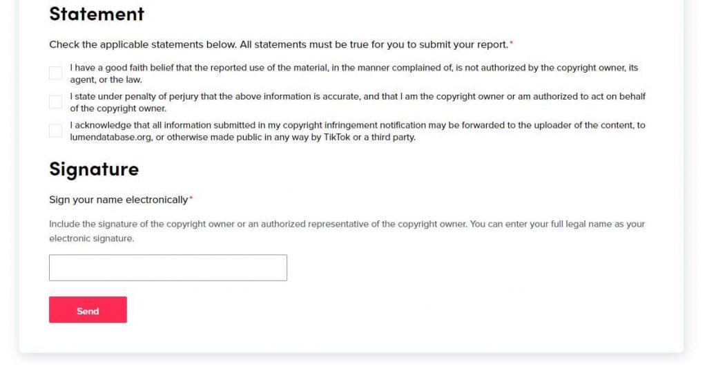 TikTok Copyright Infringing Content Signature